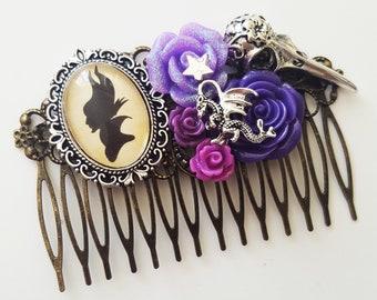 Maleficent Villain Disney Silhouette Fairytale Cameo Handmade Bridal Hair Comb Wedding Hair Disney Wedding Gift for Her