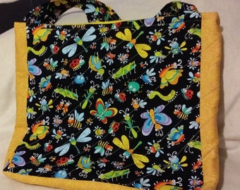 Tote bag, designer fabric tote bag, insects displayed, lined with pockets