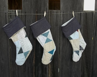 Vintage Quilt Christmas Stocking Primitive Christmas Decorations Rustic Farmhouse Holiday Decor Sold Separately 3 Available