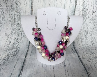 Cluster necklace Berry necklace Pink faceted necklace Festive necklace Chunky necklace Quartz necklace  Smart gift Woman gift