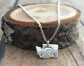 Washington State and Mountains Necklace, Hand Cut and Stamped, Sterling Silver Washington State with Mountains and Sun Necklace