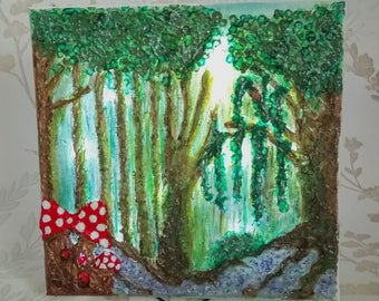 Illuminated Textured Fairy Painting - In the Woods