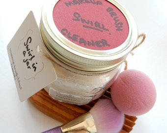 Swirl In a Jar Soap - Solid Vegan Makeup Brush/Tool Cleaner - Beauty Tool Care - Gift - Palm Free