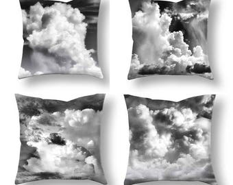 Cloud Pillow Covers-4 Pillow Covers-Ocean Decor-Beach Decor-Nautical Decor-Outdoor Pillow Covers-Black & White Pillows-Gray Clouds-Abstract