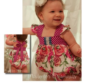 BABY Molly bubble romper, dress, top and bloomer PDF Sewing Pattern Newborn- 24 months