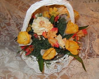 Autumn Floral Arrangement in White Wicker Basket