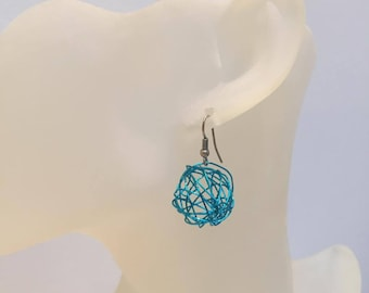 BALL blue aluminum Wire Earrings