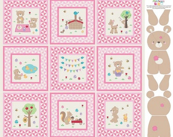 Teddy Bear Picnic Quilt Panel in Pink  ~ Baby Quilt Blocks Panel plus Bear to Stuff ~  by Melly and Me for Riley Blake