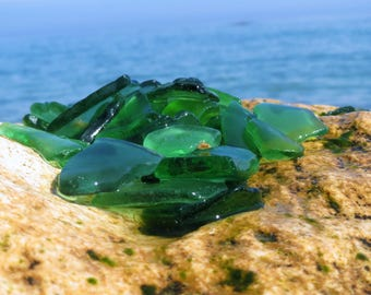 100 genuine seaglass green sea glass bulk beach glass sea glass crafting sea glass crafts tumbled glass mosaic green decor table decorations