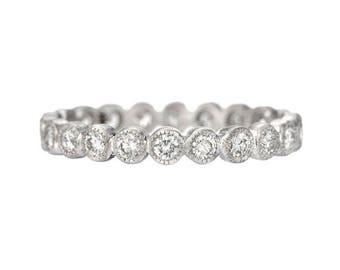 Bezel set white gold 2mm diamond eternity band