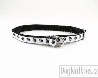 """Small Puppy Paws - Thin Dog Collar - 1/2"""" (13mm) - Small Martingale Dog Collar or Quick Release - Choice of collar style and size"""