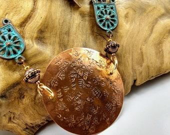 Handmade Hammered Copper Medallion on a Vintage Copper Chain -275V