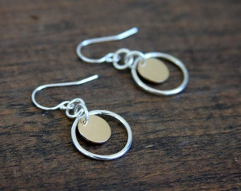 Sterling silver and gold filled circle earrings, earrings, circle earrings, mixed metals, gold filled, silver and gold, everyday jewelry