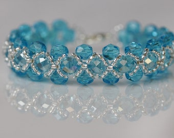 Deep Aquamarine Right Angle Weave Bracelet