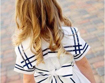 Anchors Aweigh Sailor Dress: Vintage Sailor Dress Pattern, Girls Dress Pattern, 4th of July Dress