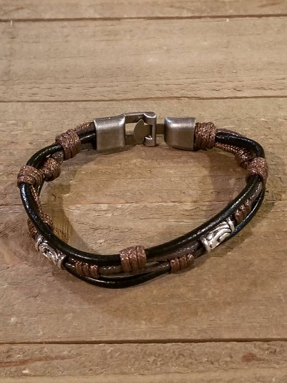 Brown Leather Weaved Bracelet With Twist Clip Native American Style Fashion Cuff Boho Hippie (B63)