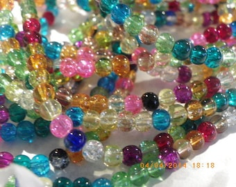 150 Crystal 4 mm clear Crackle beads