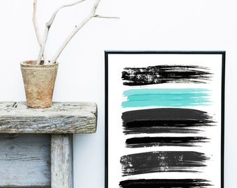 Watercolor Painting, Abstract Art Print, Printable Art, black,blue Abstract, Black Wall art, Minimalist Art, Abstract Wall Art