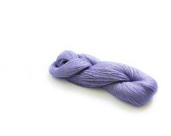 Skein of linen yarn, linen thread,  1ply yarn, levander color, thin yarn