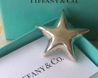 1960's retired Tiffany & Co., puffy star brooch, 925 mexico, sterling silver, t and co pin, tiffany brooch, theoldsilverbarrel, tiffany taxc