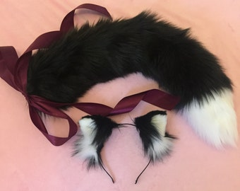 SET: Black White Ears and Cat Tail Kitten Play Set