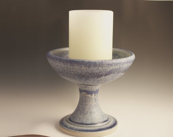 Beautiful large blue UU Unitarian Chalice for weddings, special occasion, daily celebration, handmade in Decorah, Iowa
