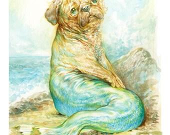 Mer Pug (print) mermaid ocean dog humor artwork beach art illustration