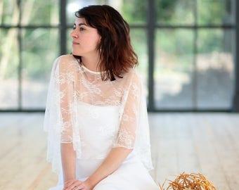 Ivory poncho, Bridal poncho, poncho Bohemian wedding Bohemian, lace, ivory lace poncho cape
