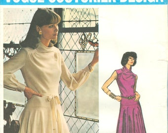 1960s Misses' Two Length Dress with Cowl Neckline and Circular Skirt   Size 12 - Vogue Couturier Design Sewing Pattern 1102
