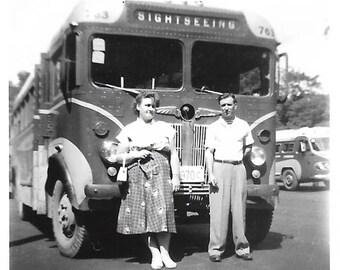 "Vintage Snapshot ""Met On Vacation"" Summertime Romance Tour Bus Sightseeing Small Snapshot Found Vernacular Photo"