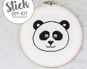 DIY kit: Sleeping Panda. Stick complete set with embroidery ring
