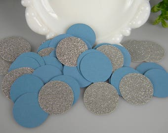 Confetti Dusty Blue Slate and Silver Table Decoration / Wedding or Baptism Decoration / Baby Boy Shower Decoration / Circle Confetti