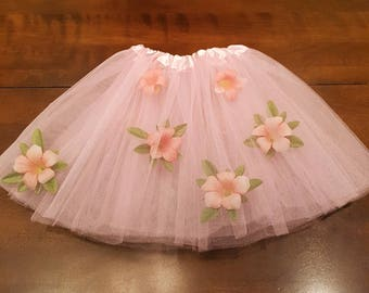 Leaves and Flowers under layers of Tulle Tutu Ballerina Dance wear Ballet Dress Fancy Skirts Costume 3 Layer Frilly 2 to 6 years old