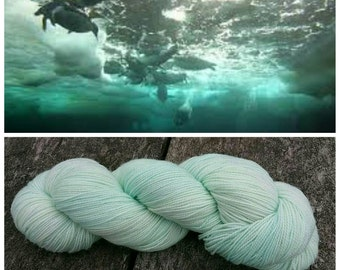 Hand Dyed Yarn, Merino, Nylon, Perfect for Those Special Socks, Shawls and Other Lightweight Accessories - Sea Ice