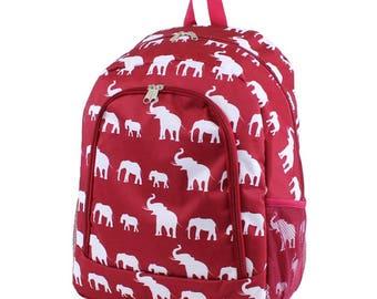 RED Elephant Monogram Backpack, Personalized Backpack, Monogram Bookbag, Girls Backpack, Pink Backpack, Kids Backpack, School Backpack