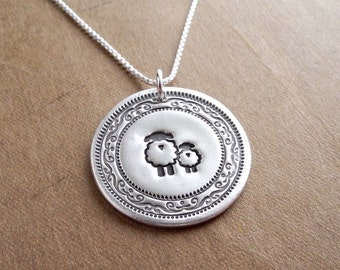 Mother and Baby Sheep Necklace, Ewe and Lamb, New Mom Necklace, Fine Silver, Sterling Silver Chain, Made To Order