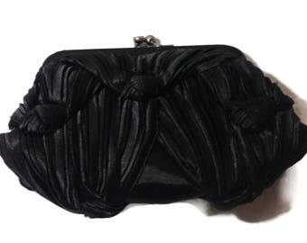 Vintage Black Satin Ruched Clutch Handbag
