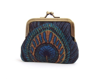 Blue peacock feather coin purse, mini pocket pouch, printed bird feather, gift box, PEACOCK