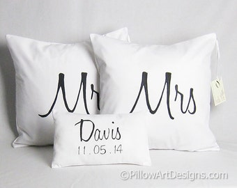 Cotton Anniversary Mr and Mrs Pillow Covers Set Personalized Mini Name and Date Pillow Black and White