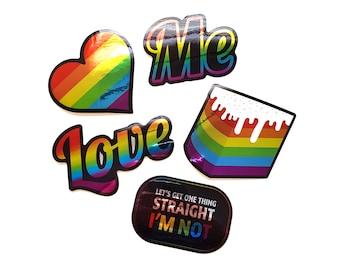 LGBTQ Aufkleber Set, Stolz Aufkleber, Latop Metallic Aufkleber, Regenbogen-Aufkleber, Laptop Aufkleber, LGBT-Zubehör, Vinyl-Aufkleber, Aufkleber