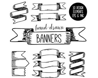 Banners Clip Art, Instant Download, Ribbon Clipart, Design Elements, Hand Drawn Ribbons, Hand Drawn Banners, Digital Clipart, EPS and PNG
