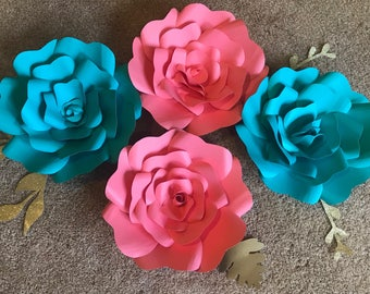 Teal and Coral Large Paper Flowers