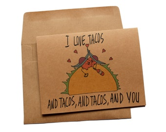 Taco Valentines card funny valentines day card for her valentines day card taco lover valentines day card for him wife valentines day card