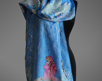 Hand painted silk scarf in Russian style. Fairy tale silk scarf. Royal blue silk scarf. Ready to ship.