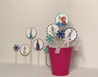 Frozen Cupcake Toppers, Frozen Cake Toppers, Frozen Centerpiece, Frozen Party, Elsa, Anna, Olaf, Frozen Party Decorations, Frozen, Elsa