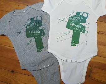 """Frankford & Girard Street Sign baby item or Kids T Shirt """"Philly Kids"""" Fishtown Kensington Philadelphia"""
