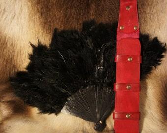 Leather Fan holder with Belt Loop
