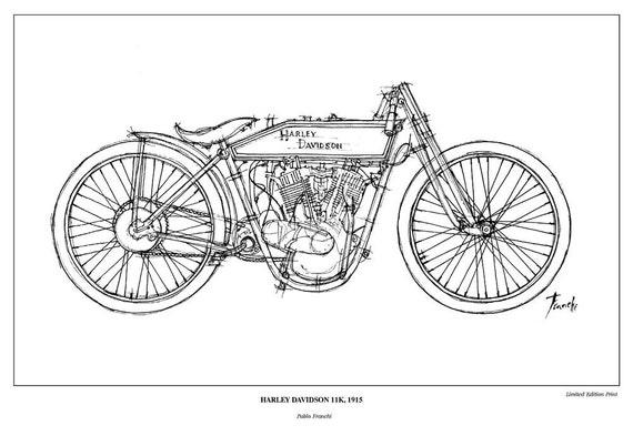 HARLEY DAVIDSON 11K 1915 Vintage motorbike