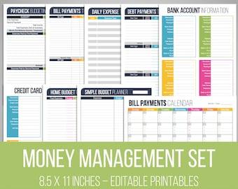 Money Management Set - Editable, Financial Printables, Bill Organizer, Money, Budget Planner, Checklist, Household Finance, INSTANT DOWNLOAD