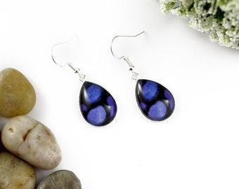 Dark Blue Earrings - Teardrop Glass Earrings - Stained-Glass Earrings - Silver Earrings - Art Nouveau Art - Cobalt Blue Earrings - Mosaic